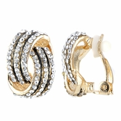 Sally's Fancy Gold Tone Rhinestone Love Knot Clip On Earrings