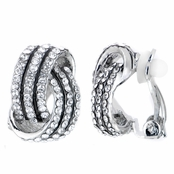Sally's Fancy Silver Tone Rhinestone Love Knot Clip On Earrings