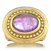 Salome's Goldtone Victorian Style Right Hand Ring - Purple Stone