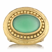 Salome's Gold Victorian Style Right Hand Ring - Green Onyx