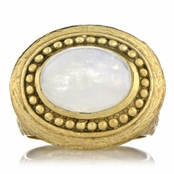 Salome's Gold Victorian Style Right Hand Ring - Moonstone