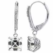 Satine's Leverback Dangle Earrings - Asscher Cut CZ