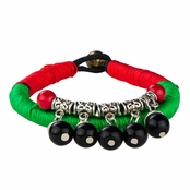 Scarlett's Woven Green & Red Handmade Beaded Charm Bracelet