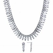 Selena's 16in Marquise Cut CZ Necklace and Earring Set