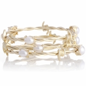 Senna's 3 pc Gold and Pearl Bracelet Set