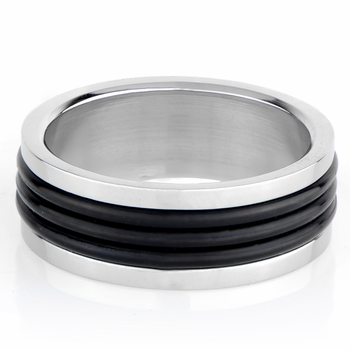 Seth's Black Rubber Stainless Steel Engravable Men's Ring
