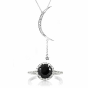 Sex and the City Style Gift Set: Moon/Star Necklace + Black CZ Ring