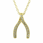 Gold Tone CZ Wishbone Necklace