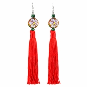 Sharon's Painted Wooden Bead and Red Tassel Earrings