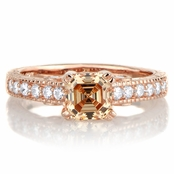 Shayla's 1.24ct Rose Gold Tone and Peach CZ Engagement Ring