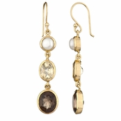 Shea's Genuine Drop Earrings - Pearl, Gold and Smokey Topaz