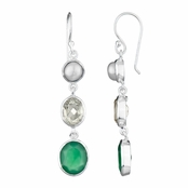Shea's Drop Earrings - ImitationPearl, Green and Black CZ