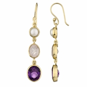 Shea's Genuine Drop Earrings - Pearl, Rose Quartz, Amethyst