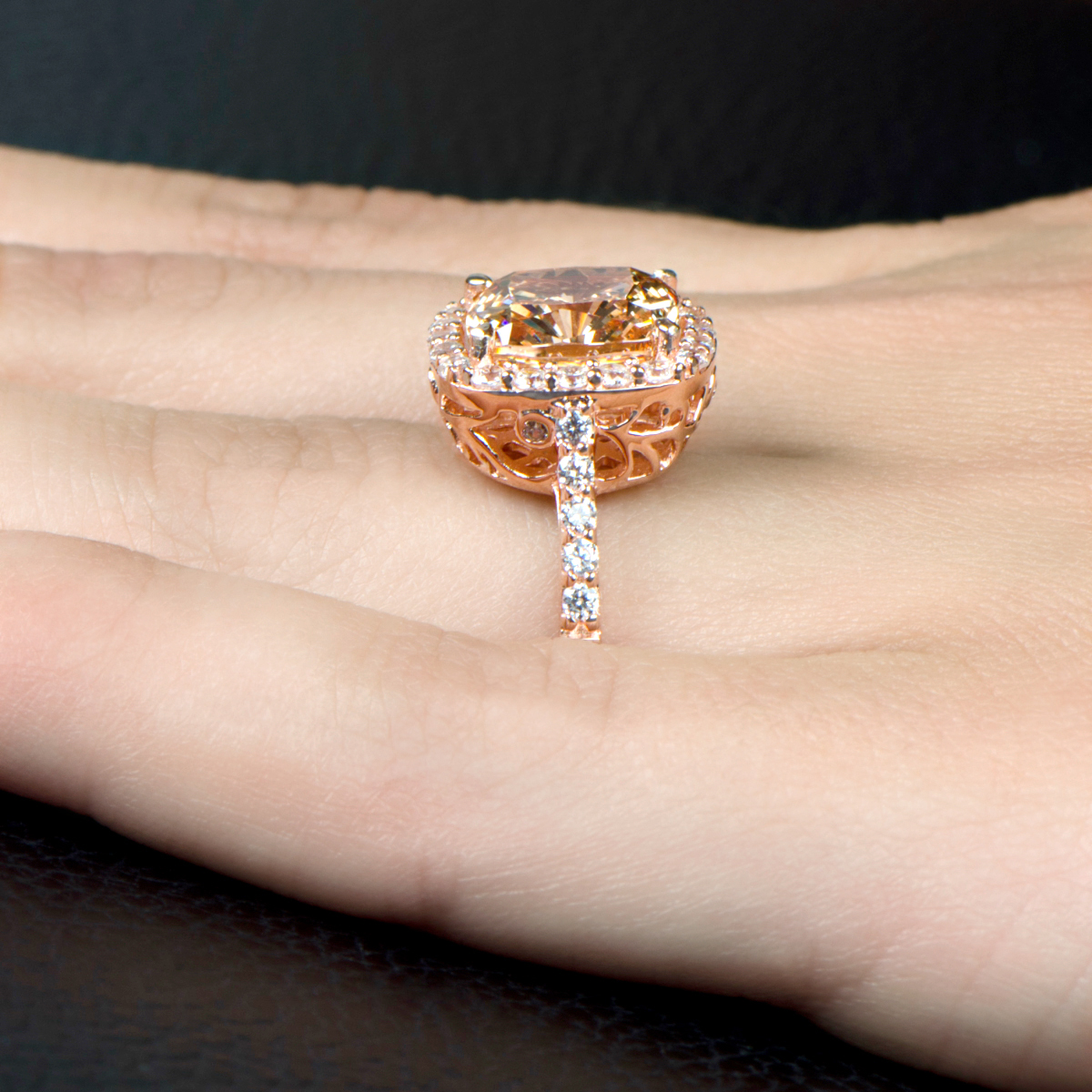 Sheera s 3 87ct Rose Goldtone and Peach CZ Cushion Cut Halo Engagement Ring