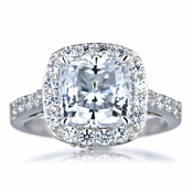 Sheera's CZ Halo Cushion Cut Engagement Ring - 8mm