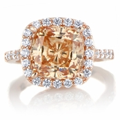 Sheera's 3.87ct Rose Gold Tone and Peach CZ Cushion Cut Halo Engagement Ring