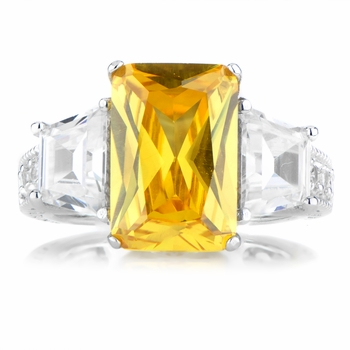 Shelia's 3 Stone Clear & Yellow CZ Ring