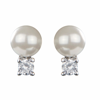 Shirin's Imitation Pearl Over CZ Stud Earrings - White