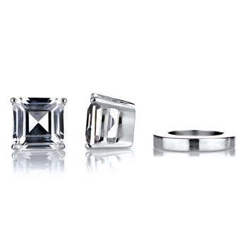 Shirina's Non Pierced Magnetic Earrings - Asscher Cut CZ Studs