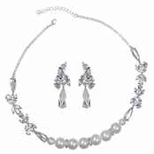 Shirley's Fancy Faux Pearl & CZ Necklace Set