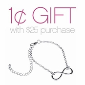 Silver Infinity Charm Bracelet: Spend $25 or more Pay One Cent