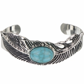 Silver tone Boho Turquoise Feather Cuff Bracelet