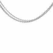 "Silvertone Triple Necklace Chain- 16"" (3mm)"