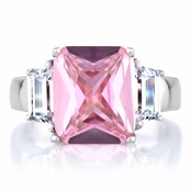 Perfectly Pink Emerald Cut CZ Engagement Ring