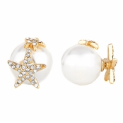 Sita's Goldtone Star Imitation Pearl Front Back Earrings