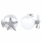 Sita's Silver Tone Star Imitation Pearl Front Back Earrings