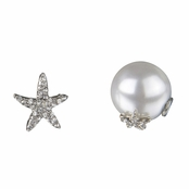 Sita's Silver Star Pearl Front Back Earrings