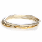Skye's 3 pc Set of Goldtone Hammered Bangle Bracelets