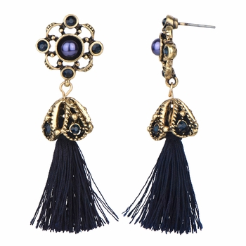 Skylar's Antique Blue Rope Tassel Dangle Earrings