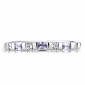 Slim Stackable Lavender and Clear CZ Ring