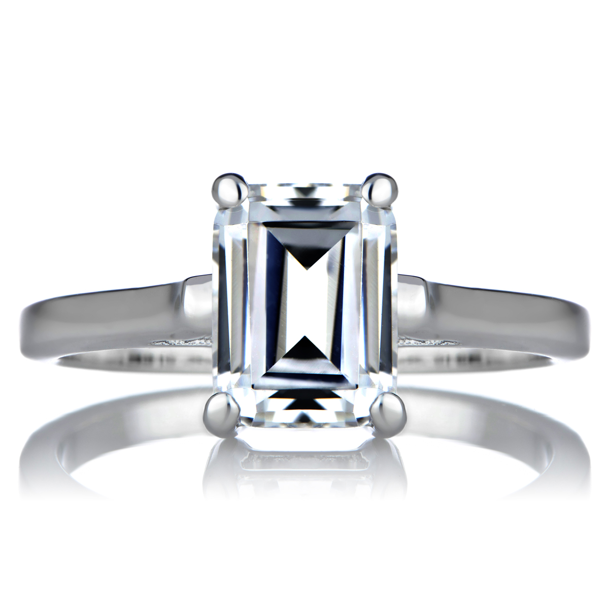 s signity cz engagement ring step emerald cut shape