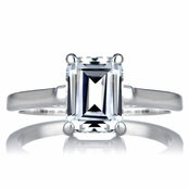 Sonia's Signity CZ Engagement Ring - Step Emerald Cut Shape
