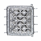 20mm Sivlertone and CZ Art Deco Charm for Jewelry Making