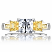Staci's Promise Ring - Yellow & Clear Princess Cut CZ