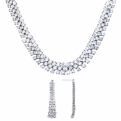 Stacia's 16in Triple Row CZ Necklace and Earring Set