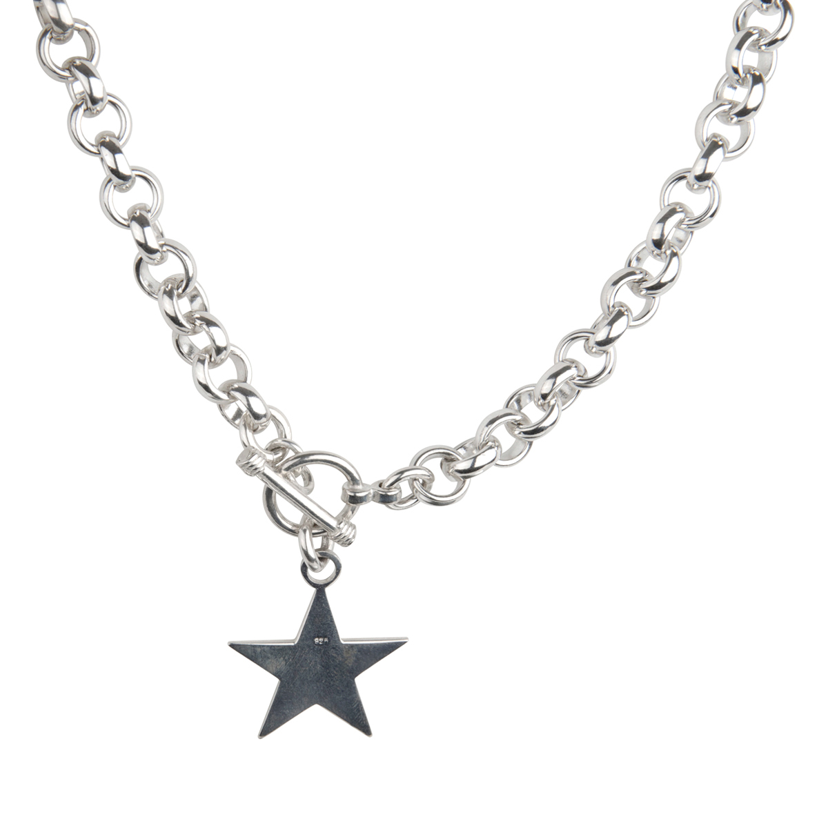 tag toggle sterling silver necklace 18 inches