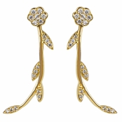 Stephanie's Gold Flower Cubic Zirconia Cuff Earrings