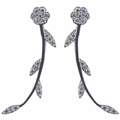 Stephanie's Silver Plated Flower Cubic Zirconia Cuff Earrings