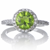 Sterling Silver August Birthstone Ring - Peridot CZ August