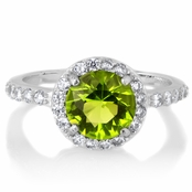 August Imitation Birthstone Ring - Peridot CZ