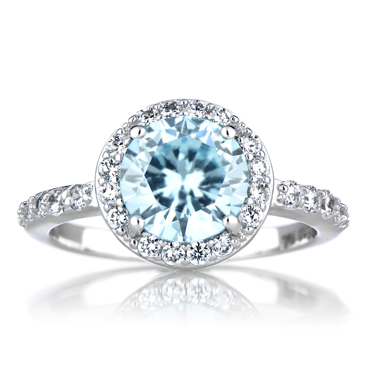 silvertone december blue cz imitation birthstone ring