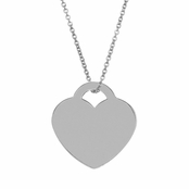Sterling Silver Heart Charm Pendant - Engravable