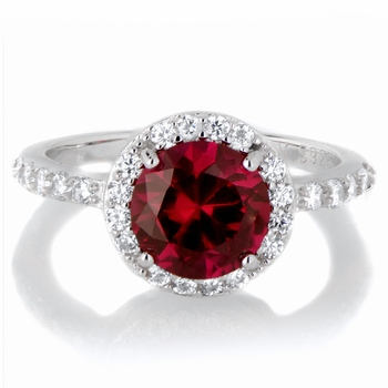 Silvertone July Imitation Birthstone Ring - Red CZ