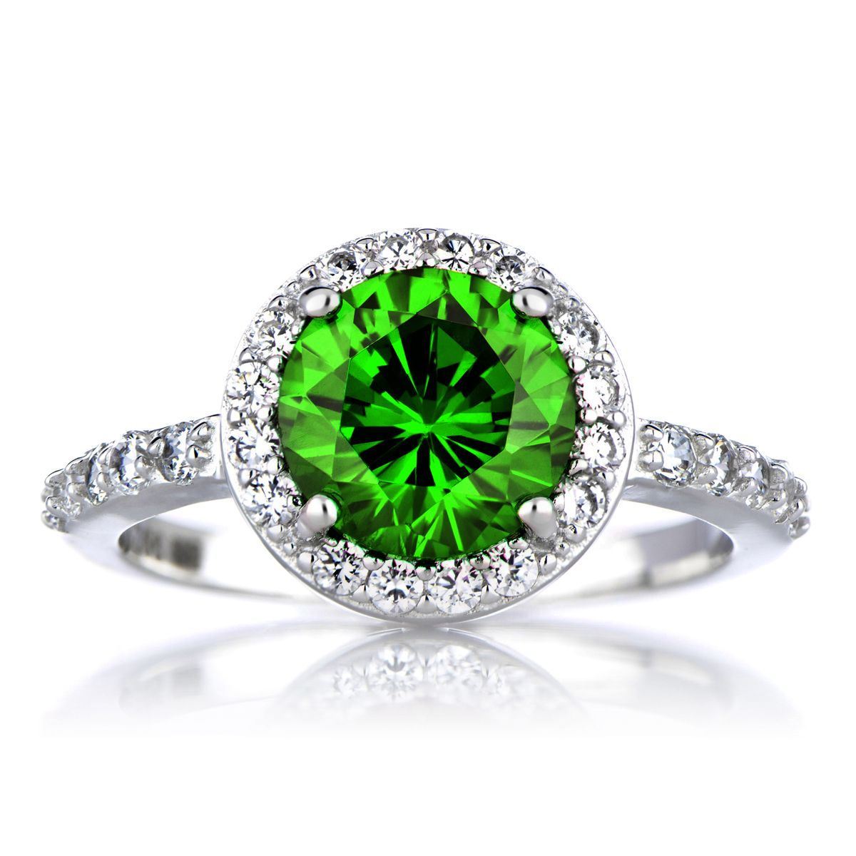 silvertone may imitation birthstone ring green cz