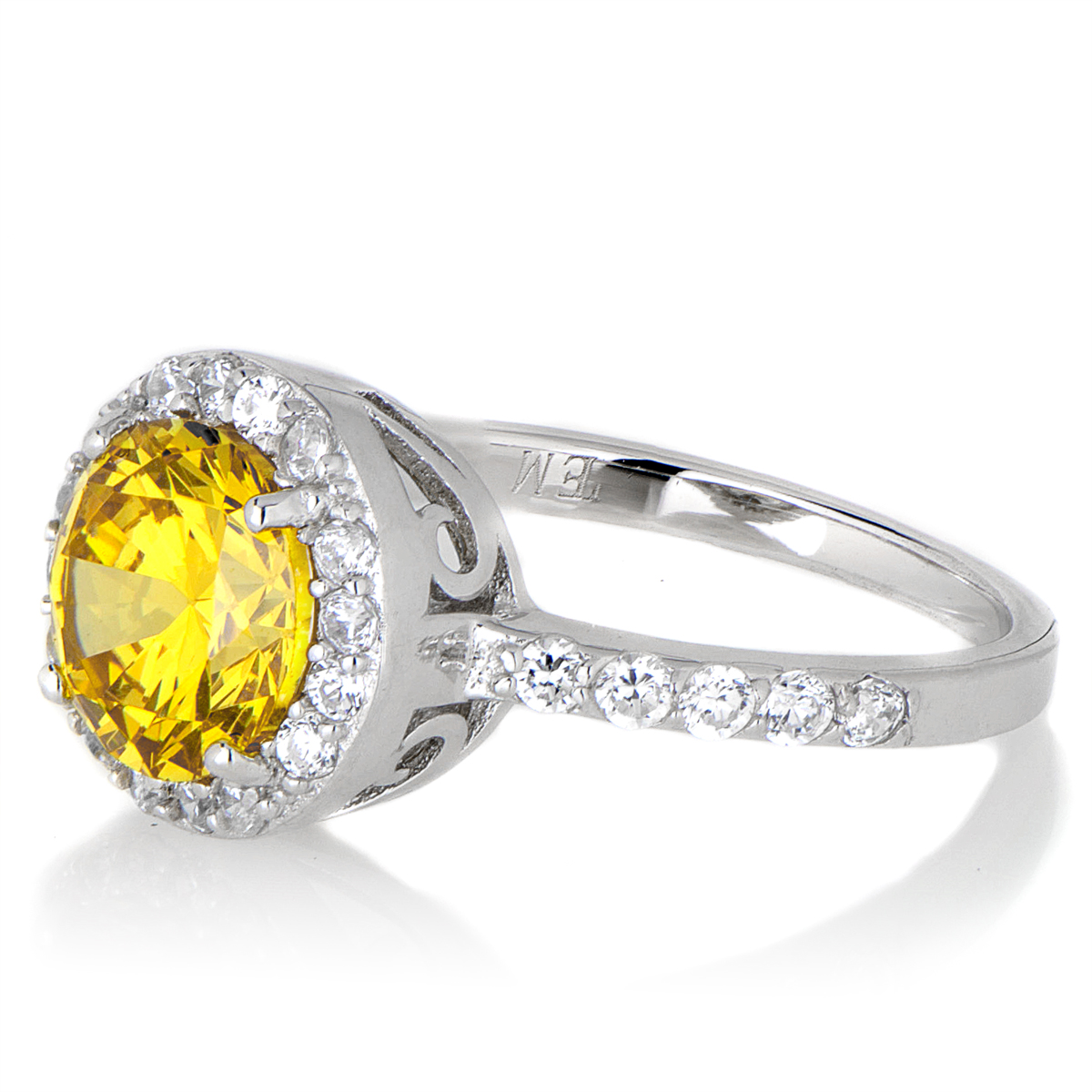 silvertone november imitation birthstone ring citrine cz
