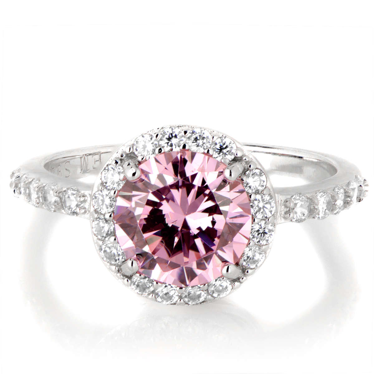 silvertone october imitation birthstone ring pink cz